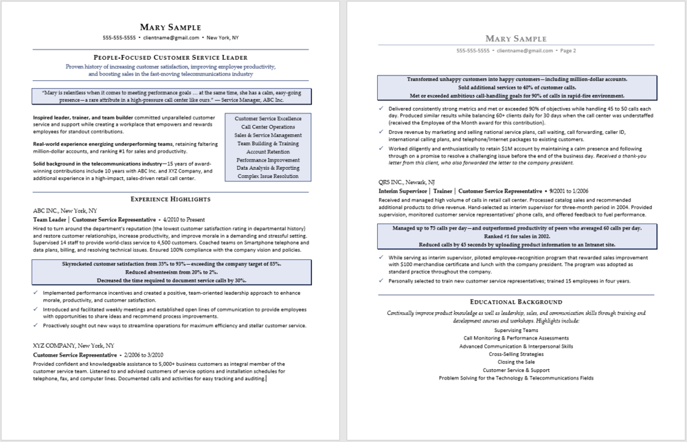 Professional Resume Sample:  Customer Service Resume