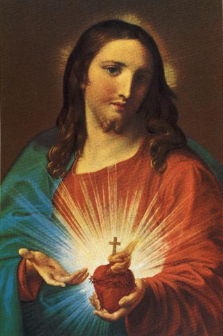 Pompeo Batoni 1767 Sacred Heart of Jesus. This is a common image of the sacred heart. Variations are used extensively in Catholic imagery.