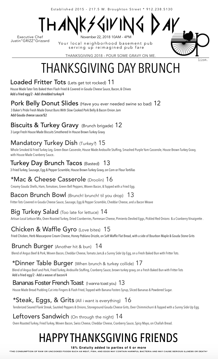 THANKSGIVING DAY MENU 2018 - OUR 2018 THANKSGIVING BRUNCH MENU.