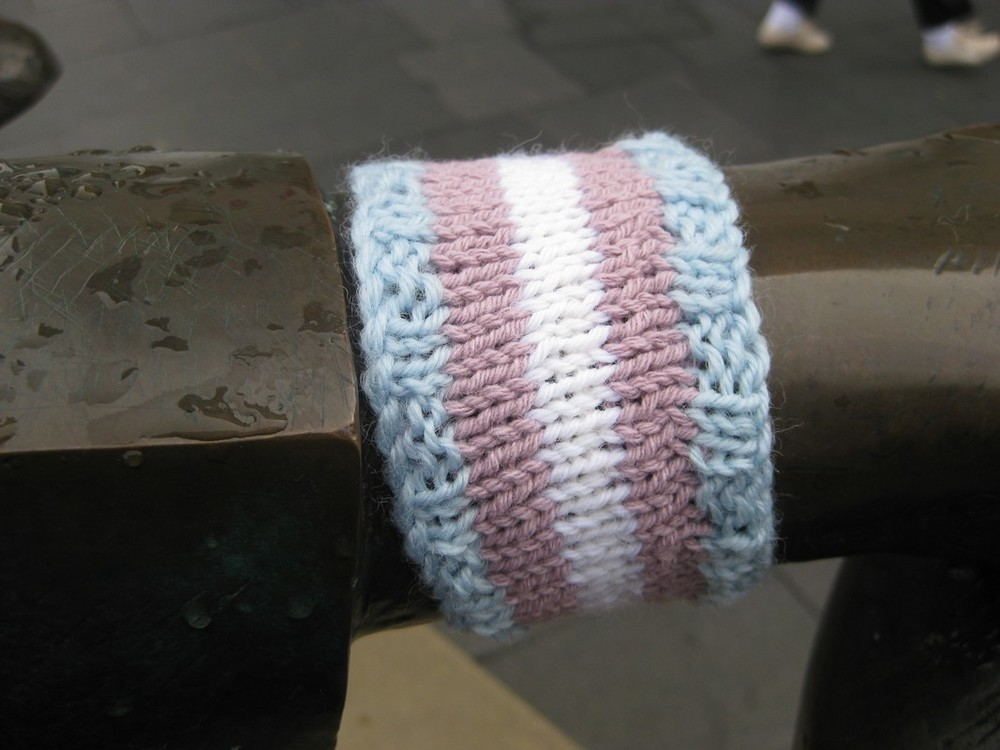 Asexual yarn bomb - Aceknitaholic
