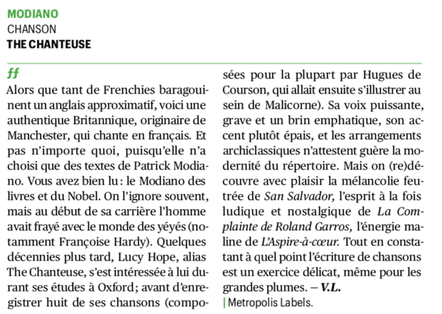 telerama modiano the chanteuse review
