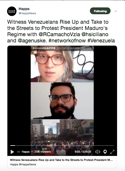 Venezuela - Livestream of the conflict and protests in Caracas, Venezuela for Happs News. Broke news of interim president Juan Guaidó taking oath mid-protest. Moderated the coverage with Venezuelan journalist Roman Camacho who was on the ground in Caracas and exiled Venezuelan journalist Horacio Siciliano based in Madrid, Spain. 25k views.