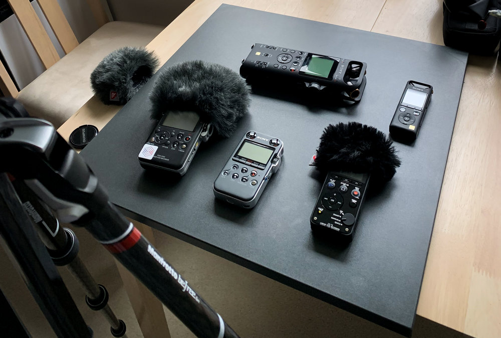 Handheld recorders hanging out