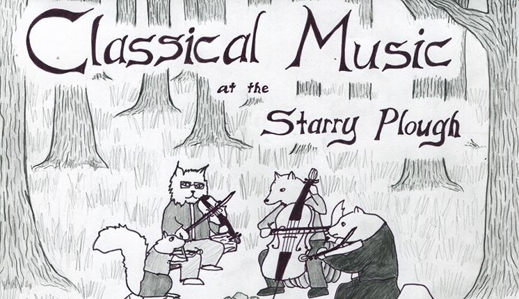 Our cellist, Lewis Patzer, has a residency at the Starry Plough every 1st Sunday from 4-6:30pm. The Town Quartet often performs and there is always wonderful music! Drawing by  Ariel Wang