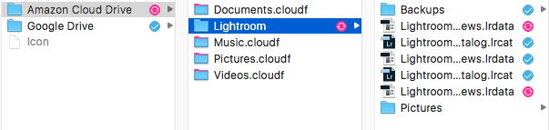 After dragging and dropping the Lightroom directory into the Amazon Cloud Drive in the Odrive application it started synching. All the pink and blue directories are place holders that can be synched at any time.