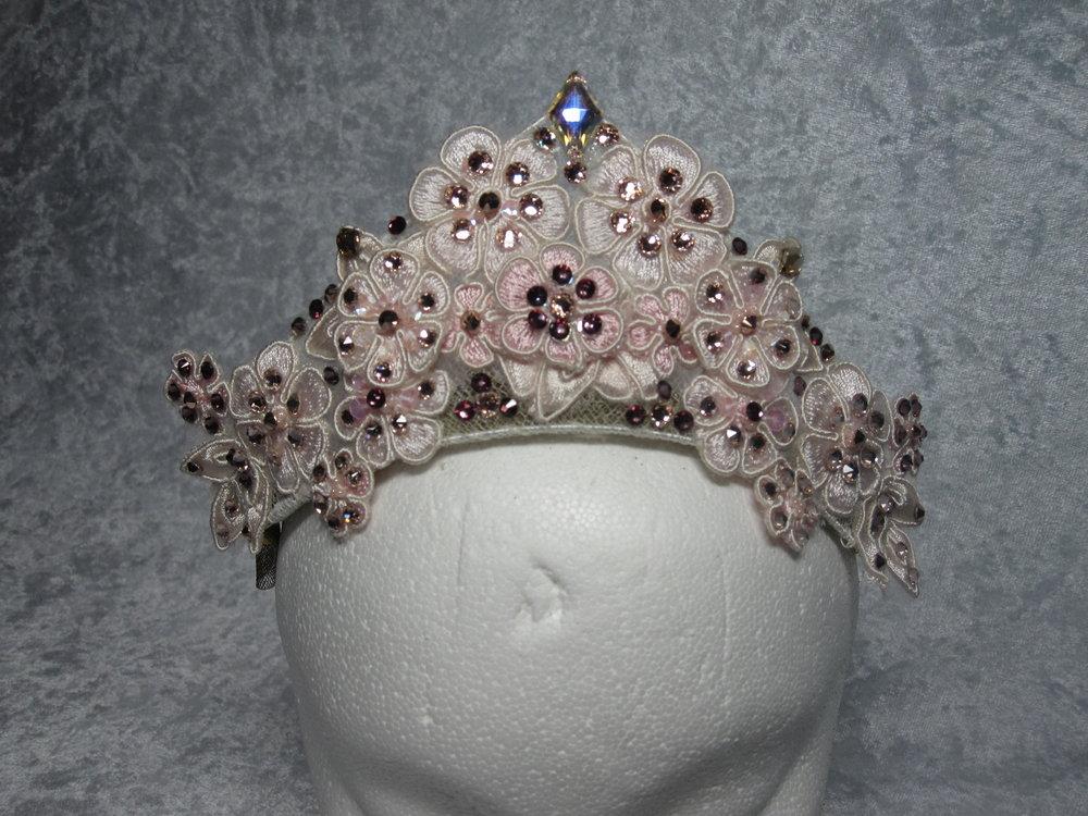 Pink floral lace tiara