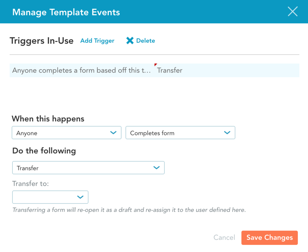 Manage Template Events Window 2