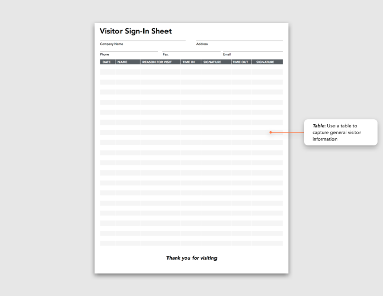 Spotlight Form Visitor SignIn Sheet Blog – Sign in Sheet