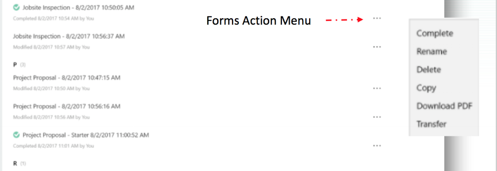 actions menu