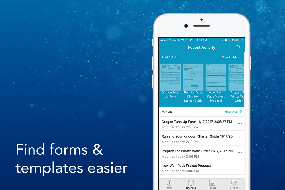 Updated iOS navigation helps you locate your forms and templates faster