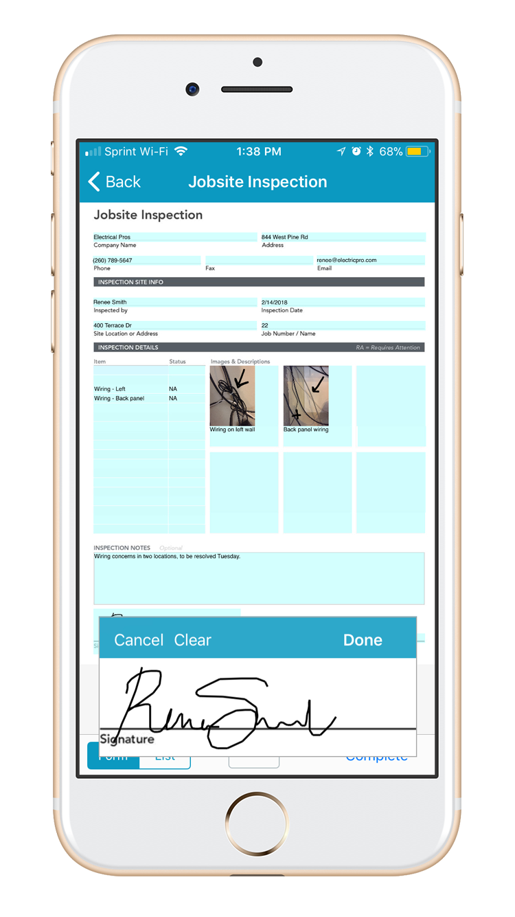 Jobsite inspection form includes new data types and field properties to improve compliance