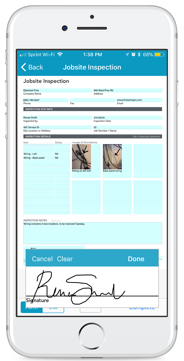 mobile inspection form