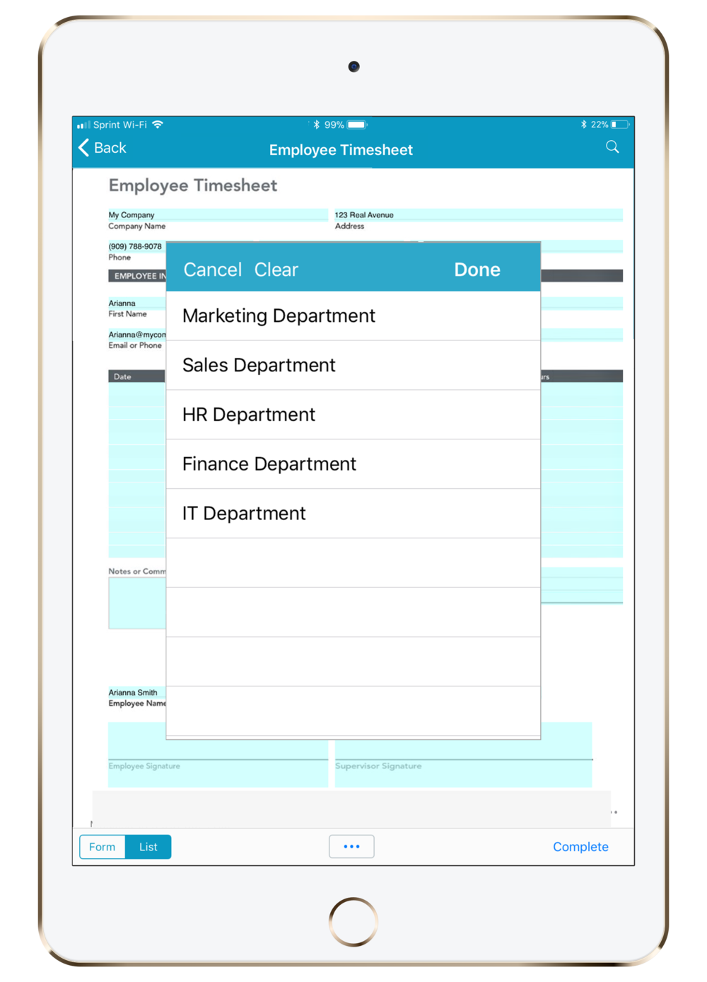 Employee Timesheet on iPad