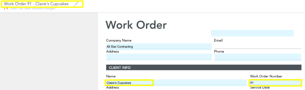 Fields highlighted in yellow contribute to Form default name (referenced in example above).