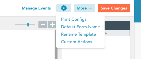settings icon drop down to default form name