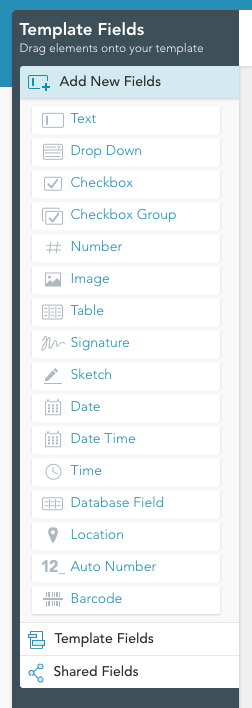 select 'Template fields' for an alphabetical list of fields already in your template