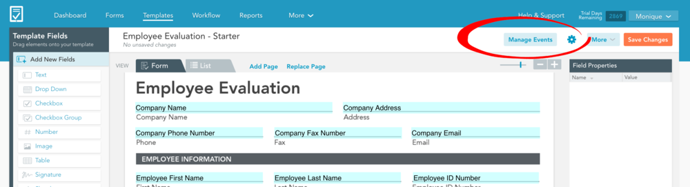 Click the Manage Events button for Template Automation
