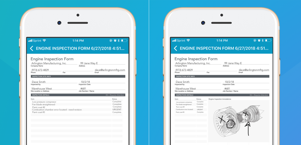 The form on the left displays a form including   no   visual context, versus, the form on the right includes captured data and visual context.