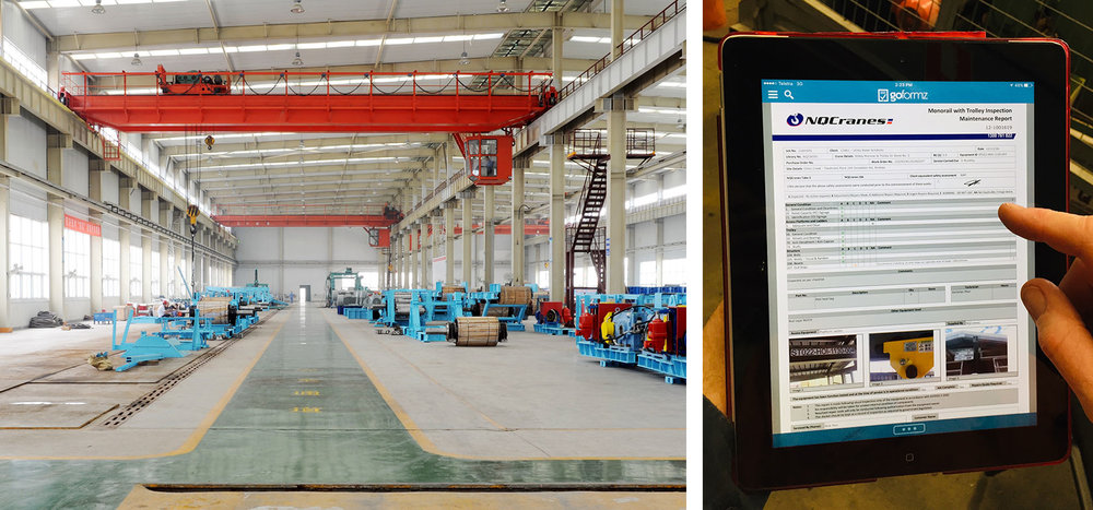 Left: An NQCranes overhead crane, Right: NQCranes using mobile form on iPad