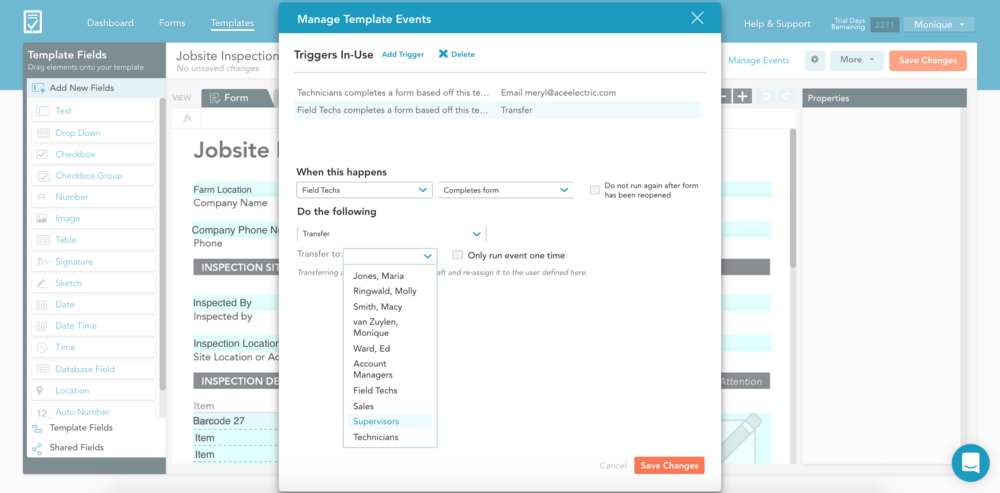 Using the manage events window it's easy to automate the transfer of forms between groups