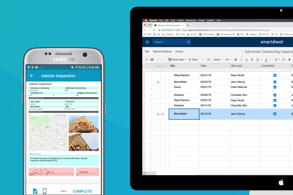Integrate your GoFormz mobile forms with Smartsheets