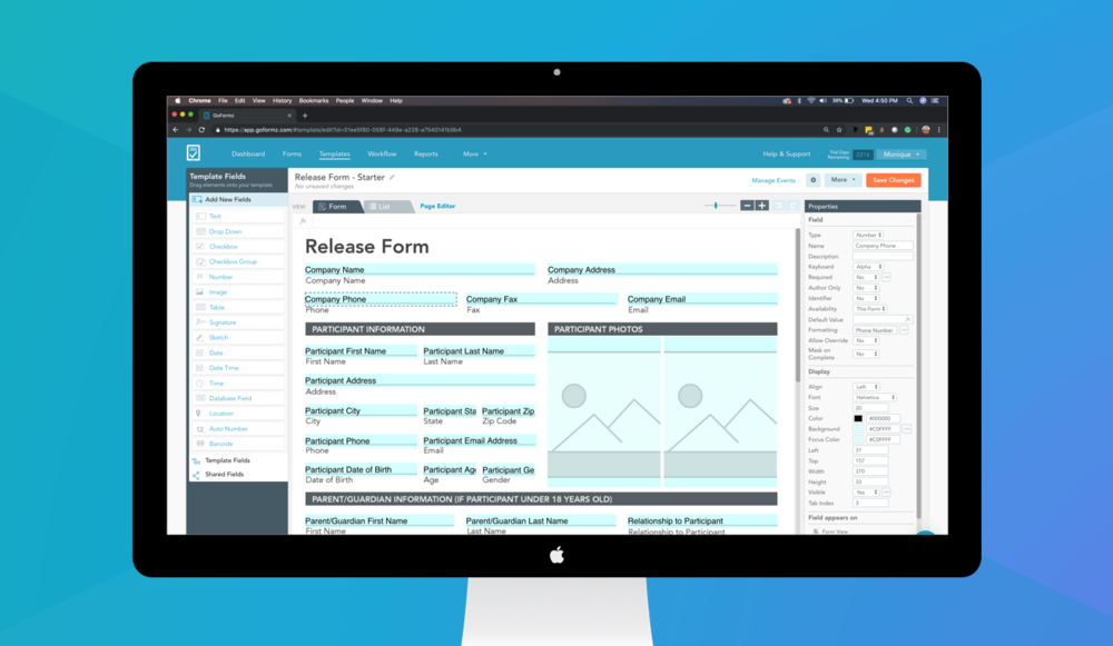 Digitize your release forms for use on mobile devices