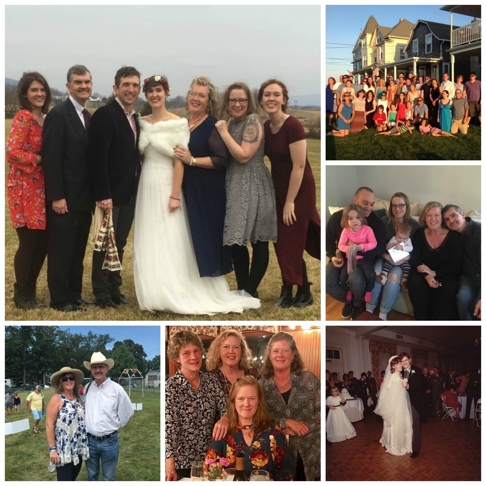 My Family - Catie and Alexander's Wedding, Chris and me, and our girls. Plus our extended family reunion, Lauren and Tony and fam, Chris' and my wedding, sisters gathering, and Chris and me at the Appaloosa music festival created by Catie's hubby's band Scythian.