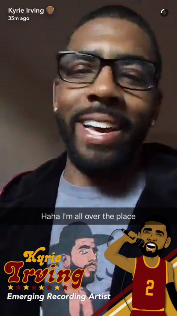 Kyrie Irving wearing our AnkleTaker shirt on his Snapchat.