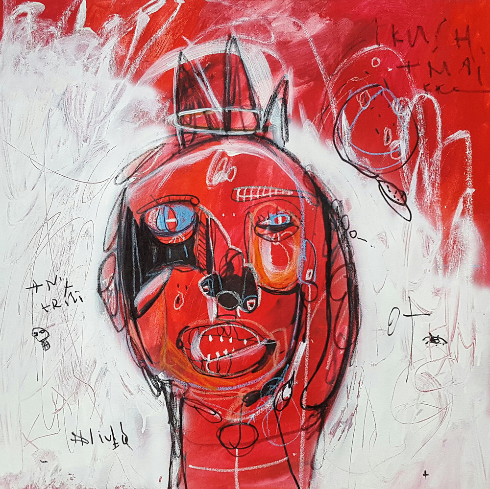 NOT MY HELL ,  80 x 80 cm, Acrylic, spray paint, markers and oil pastels on canvas, 2016.