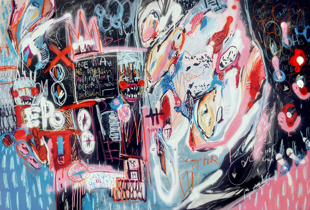 MY FUTURE MY PAST , 100 x 150 cm, Acrylic, spray paint, markers and oil pastels on canvas, 2016.