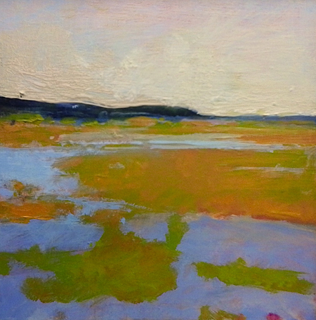 "Blackfish Creek , Heather Pilchard, oil on board, 6"" x 6"" framed, sold"