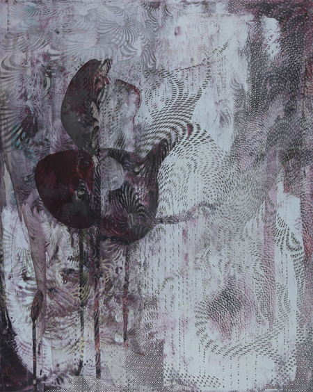 "Untitled 1431 , Dorothea Van Camp, screen print, oil, wax on panel, 20"" x 16"" x 1 1/2"", $900"