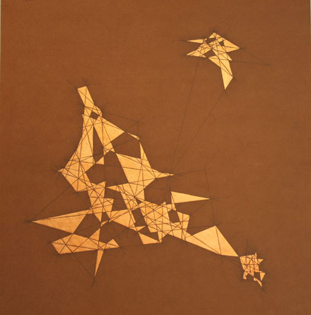 "Semi-Precious 1,   graphite, metal leaf on MDO plywood, 23¼"" x 24"", sold"
