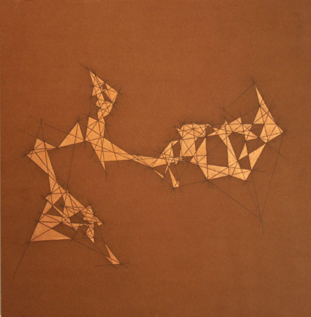 "Semi-Precious 2,   graphite, metal leaf on MDO plywood, 23¼"" x 24"", $1,500"
