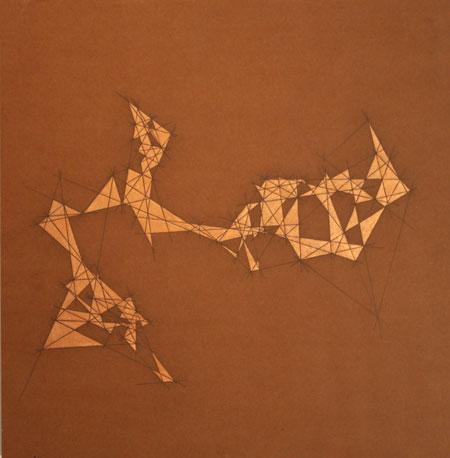"""Semi-Precious 2,  graphite, metal leaf on MDO plywood, 23¼"""" x 24"""",  sold"""
