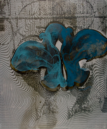 "Untitled 1409,   screen print, oil, wax on panel, 24"" x 20"",   $1,400"