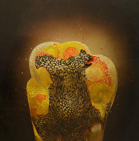 "Golden Sac No. 2 ,  acrylic on panel, 12"" x 12"" , $750"