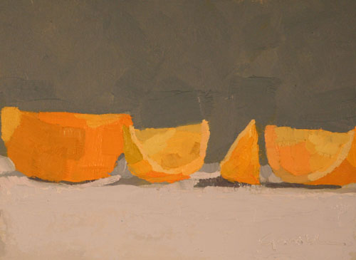 "Grapefruit 6,   oil on canvas, 5¾"" x 7¾"", sold"