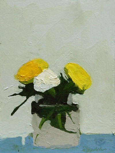 "Marigolds 1,   oil on carton board, 7¾"" x 5¾"""