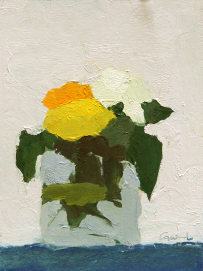 "Marigolds 2,   oil on carton board, 7¾"" x 5¾"""