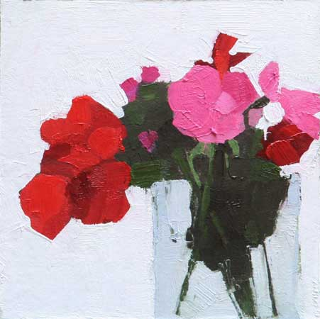 "Geraniums 2,   oil on board, 6"" x 6"",   sold"