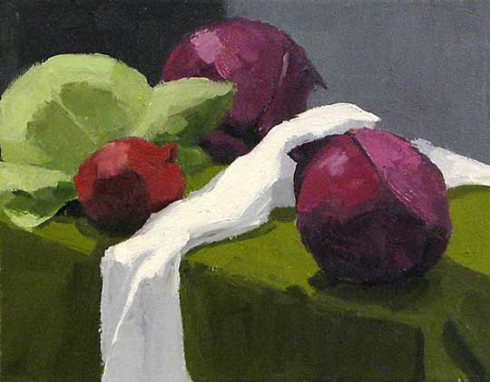 "Purples and Greens,   oil on canvas, 8½"" x 10½"" framed,   sold"