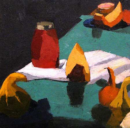 "Squash and Honey Jar,   oil on canvas, 11½"" x 11½"" framed"