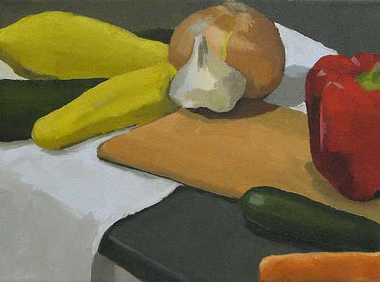 "Vegetables and Board,   oil on canvas, 9½"" x 12¼"" framed,   $375"