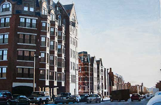 "Columbus and Clarendon,   oil on paper, 15"" x 24"" framed,   $1800"