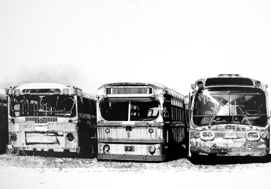 "Buses of Truth,   graphite on paper, 31"" x 38"" framed,   sold"