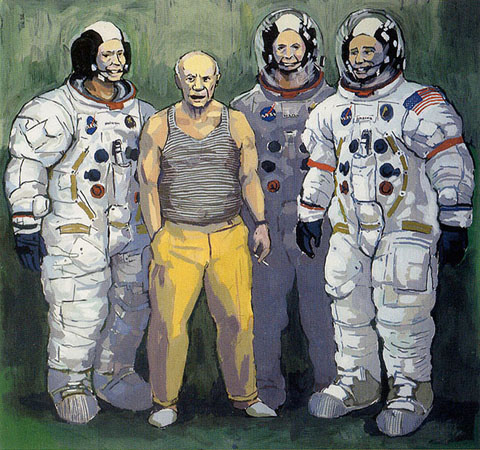 "Picasso with Astronauts,   gouache on board, 20"" x 19¼"",   $2200 framed/ $250 unframed giclée print"