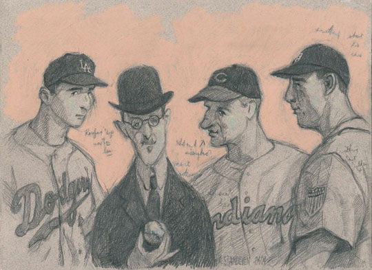 "Study for ""Jewish Infield"",   pastel, pencil on paper, 15½"" x 18¼"",   $2400 framed"