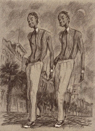 "Charleston Twins,   sanguine, pastel on tinted paper, 20"" x 16"",   $1600 framed"