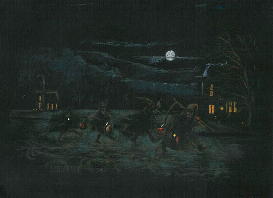 "Halloween,   pastel on tinted paper, 14¾"" x 18"",   $2,000 framed"